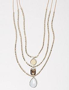 Layered Stones & Bead Necklace
