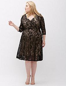Surplice Lace Fit & Flare Dress