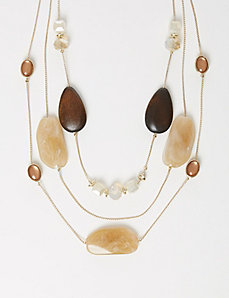 3-Row Wood & Stone Illusion Necklace