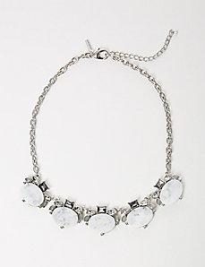 White Stone Statement Necklace
