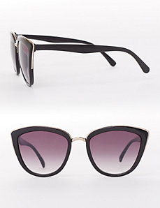 Metallic-Trimmed Cateye Sunglasses
