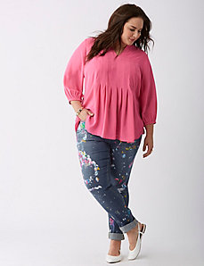 Pleated Notch-Neck Top by Melissa McCarthy Seven7
