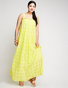 Pleated-Front Maxi Dress