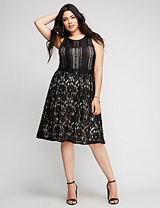 Fit and Flare Mixed Lace Dress