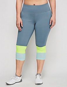 TruDry Wicking Active Capri Legging with Blocked Mesh