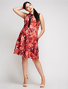 Floral Fit and Flare Dress by ABS Allen Schwartz