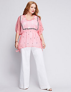 Embroidered Smocked Waist Drama Top