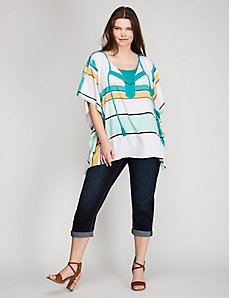 Plaid Print Notch-Neck Drama Top