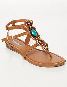 Jeweled Sliver Wedge T-Strap Sandal