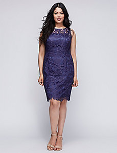 Illusion-Neck Lace Dress by Adrianna Papell