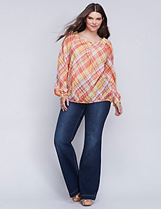 Plaid Off-the-Shoulder Artist Top
