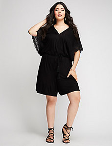 Lace-Trim Romper
