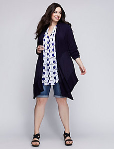 Mixed Fabric Waterfall Cardigan by Melissa McCarthy Seven7