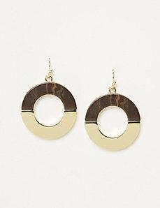 Woodgrain Circle Drop Earrings