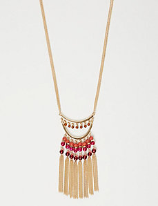 Bead & Fringe Pendant Necklace