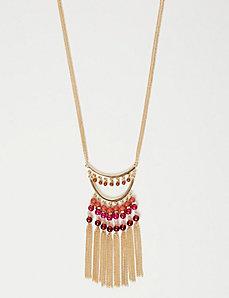 Bead & Fringe Pendant Necklace