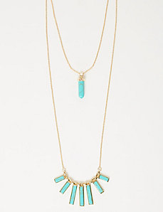 2-Layer Turquoise Bar Necklace