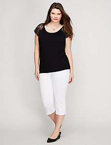 Eyelash Lace-Sleeve Tee