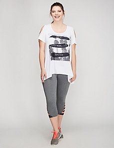 Cold-Shoulder Active Graphic Tee by Jessica Simpson
