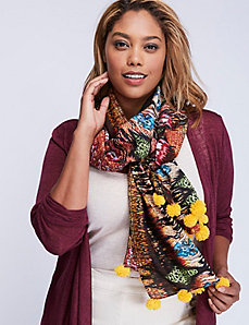 Printed Oblong Scarf with Pom Poms