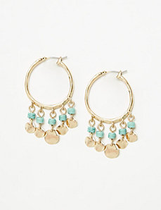 Hoop Earrings with Turquoise & Discs