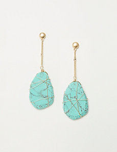 Wire-Wrapped Turquoise Drop Earrings