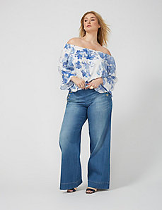 Off-Shoulder Printed Peasant Top