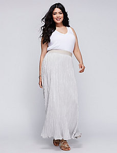Pleated Foil Maxi Skirt