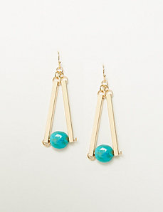 Linear Sticks & Stone Drop Earrings