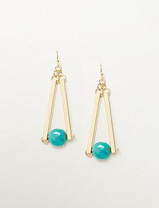 Linear Sticks & Stone Drop Earrings