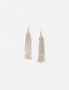 White Chain Tassel Earrings