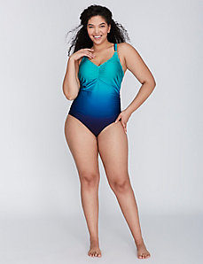 Shimmer Ombre Swim One Piece with No-Wire Bra