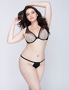 Exposed Lace Unlined Triangle Plunge Bra