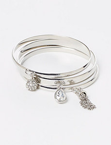 3-Row Bangle Set with Charms