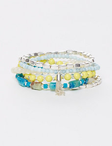 6-Row Turquoise & Neon Beaded Stretch Bracelet Set
