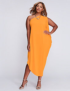 One-Shoulder Draped Maxi Dress