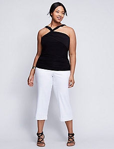 Shirred Asymmetrical Y-Neck Tank