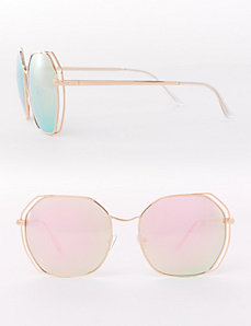 Rose Gold Mirrored Aviator Sunglasses with Open Detail