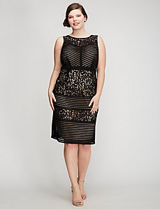 Lace & Mesh Scuba Dress by Gabby Skye