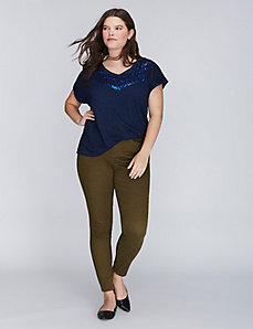 Roll-Sleeve Tee with Sequins
