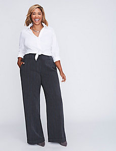 Ashley Tailored Stretch Pinstripe Wide Leg Pant