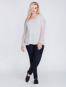 Mesh Mixed Fabric Dolman Top