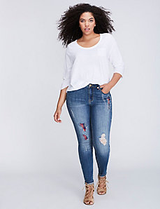 Distressed Plaid Skinny Jean