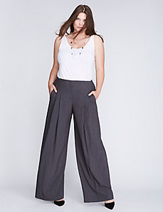 Lena Tailored Stretch Pleated-Front Wide Leg Pant