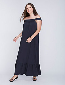 Off-the-Shoulder Shirred Maxi Dress by C&C California