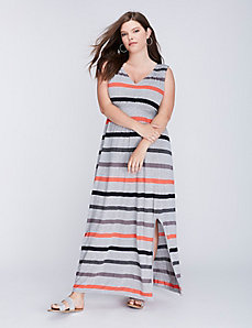 Striped Ruched Maxi Dress with Side Slit by C&C California