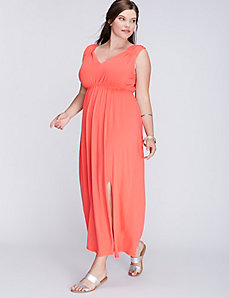 Ruched Maxi Dress with Side Slit by C&C California