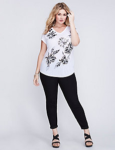 Black & White Floral Graphic Tee