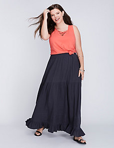 Maxi Skirt with Pintuck Detail by C&C California