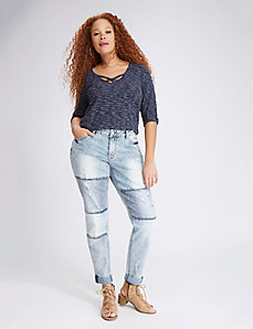 Patchwork Destructed Boyfriend Jean